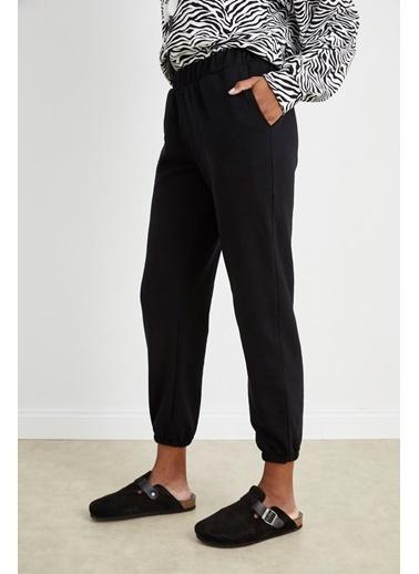 Curly Siyah Jogger Pantolon Siyah